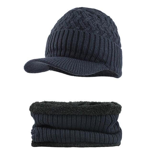 8fb83ea82e84a Knitted Hat with Collar Scarf Set (Navy Blue) in 2018