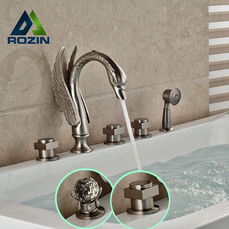 Widespread Swan Shape Bathtub Mixer Faucet 5 Holes Brushed Nickel