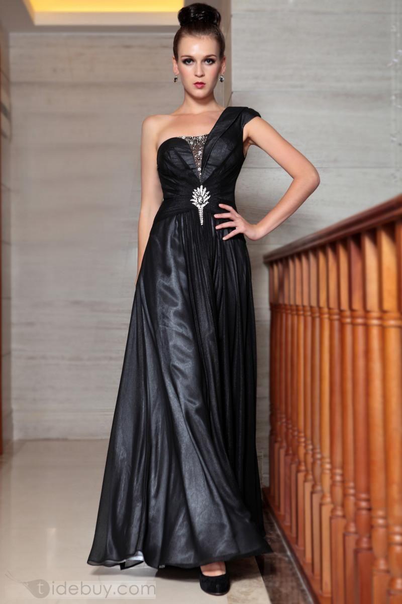 2db263ff8 Moderno Vestido de Noche Prom Un Hombro Filamento Brillante Largo al Piso  (Envío Gratuito)