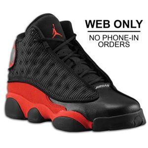 boys gradeschool air jordan retro 13 black/varsity red/white