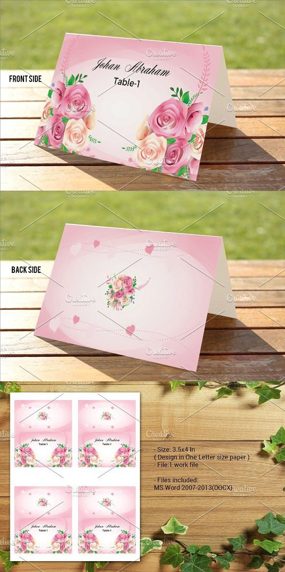 Wedding Place Card Template Place Card Template Card Templates - Wedding invitation templates: wedding place card size