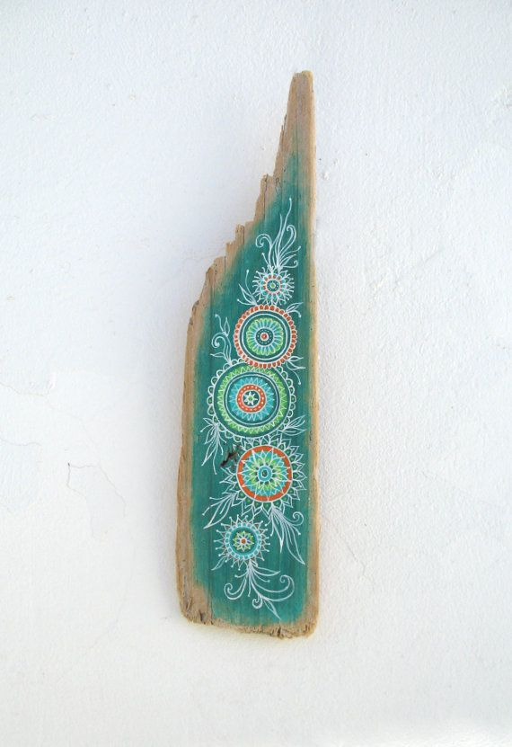Hand Painted Rustic Driftwood Wall Sculpture With