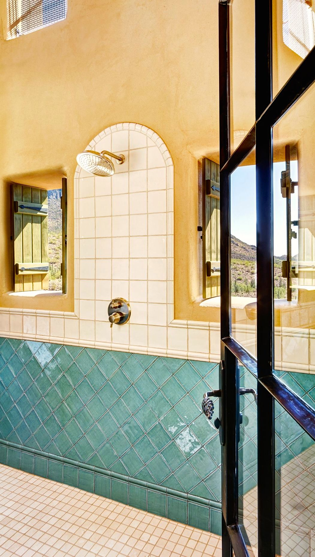 pool shower, love the windows with the wood shutters, plaster wall ...