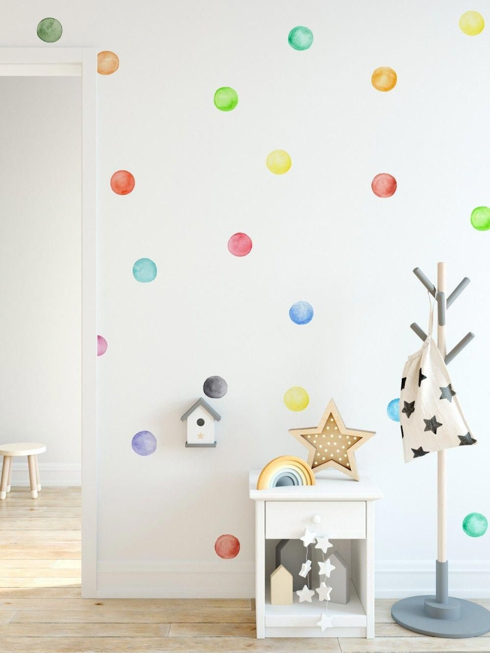 Kids Watercolor Colorful Polka Dots Wall Decal Sticker In 2020