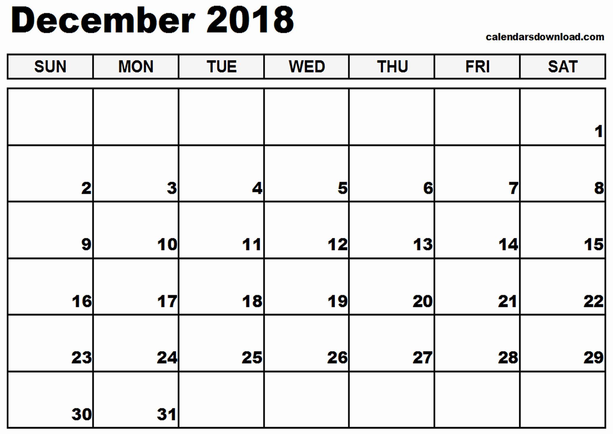 December 2018 Calendar Printable Template With Images Calendar