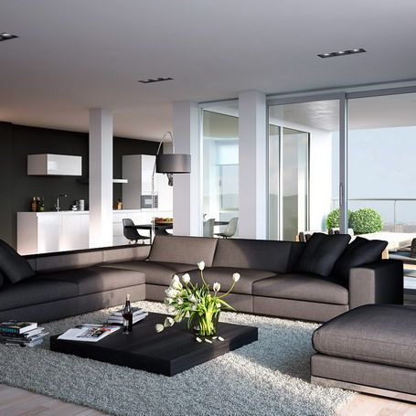 Modern Living Room With Dark Grey Sofa With Cushions And