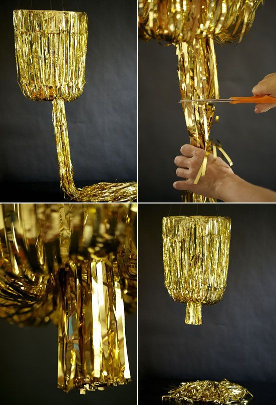 how to make the Gold fringe chandelier! @Nathalie Benito Benito Benito Benito Montecchi Bearden & Fluff Design House  Layer Cake