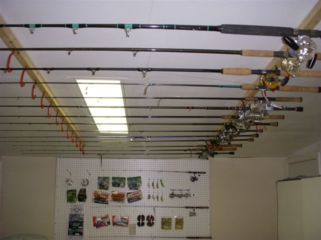 Fishing pole storage creative ideas diy pinterest for Homemade fishing rod storage ideas
