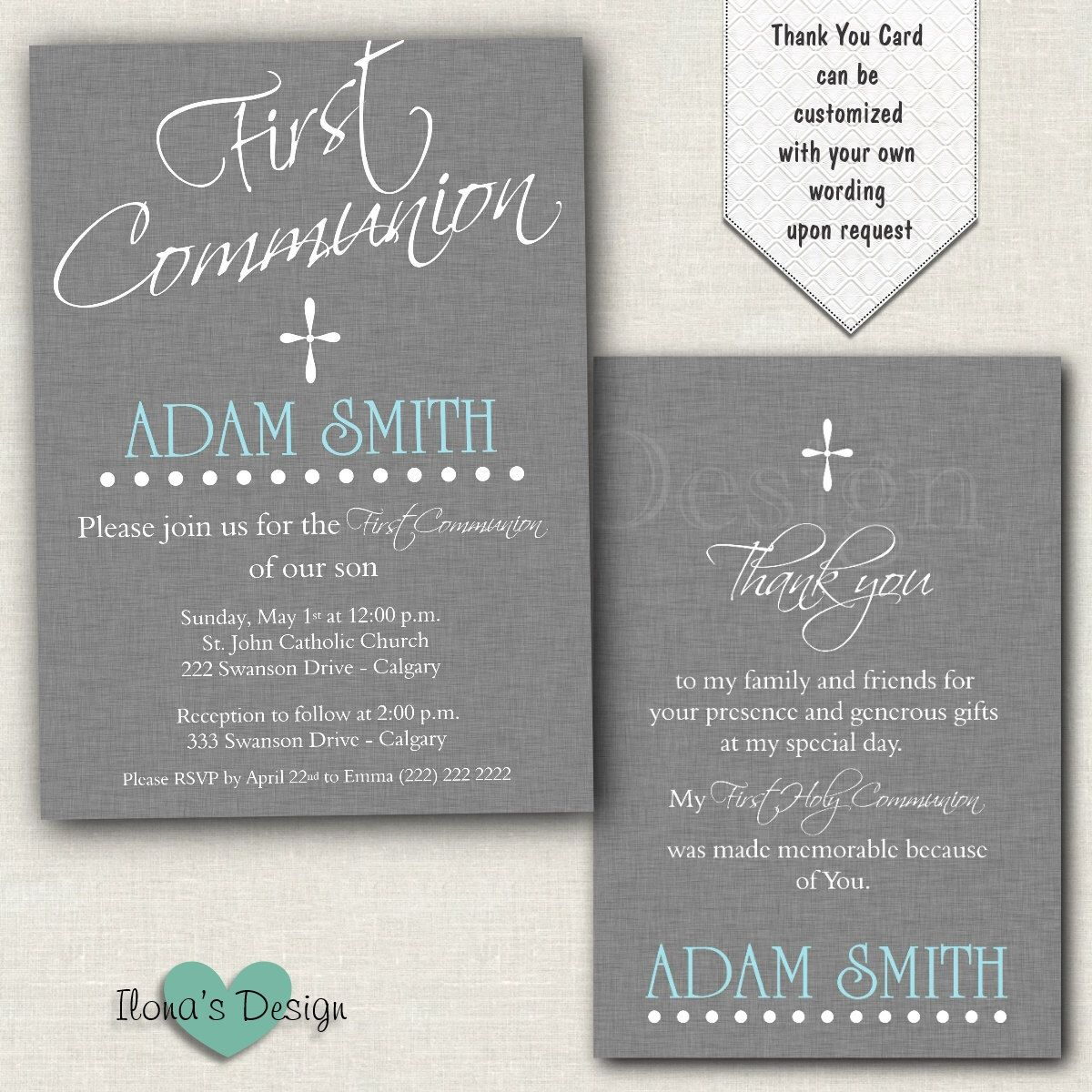 Boy First Communion Invitation Grey 1st Communion