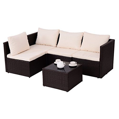 Patio Rattan Wicker 5 Piece Sofa Cushioned Set Brown