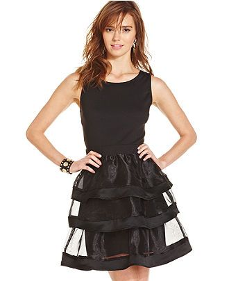 7771172c115 Teen Vogue Juniors  Tiered Sheer-Panel A-Line Dress - Juniors Shop All  Apparel