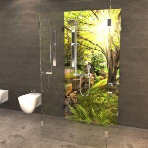 duschr ckwand wald mit sonne duschr ckw nde von pinterest w nde badezimmer und. Black Bedroom Furniture Sets. Home Design Ideas