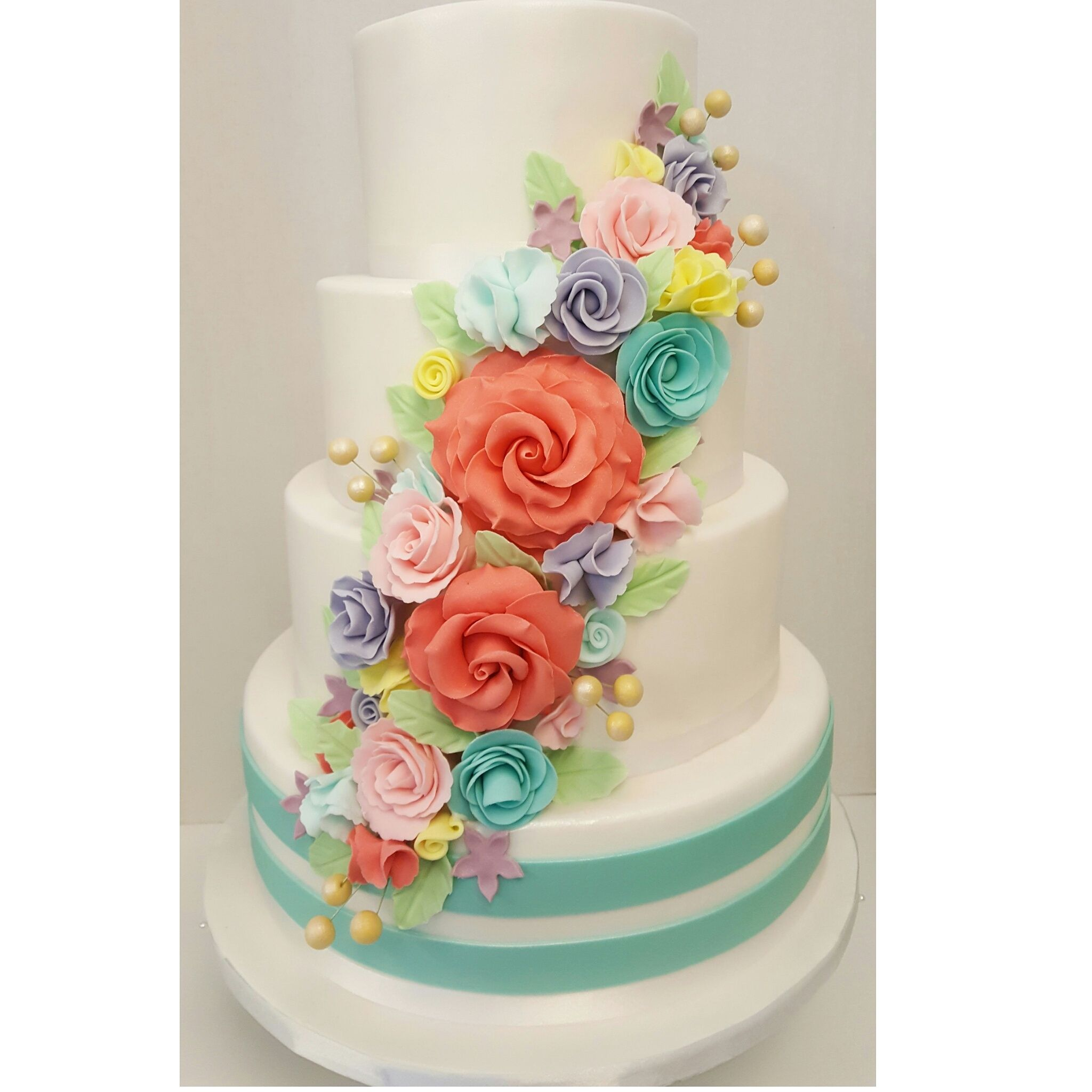 Beautiful Wedding Cakes By The Baking Grounds Bakery Café: Vibrant Realistic Flowers Wedding Cake