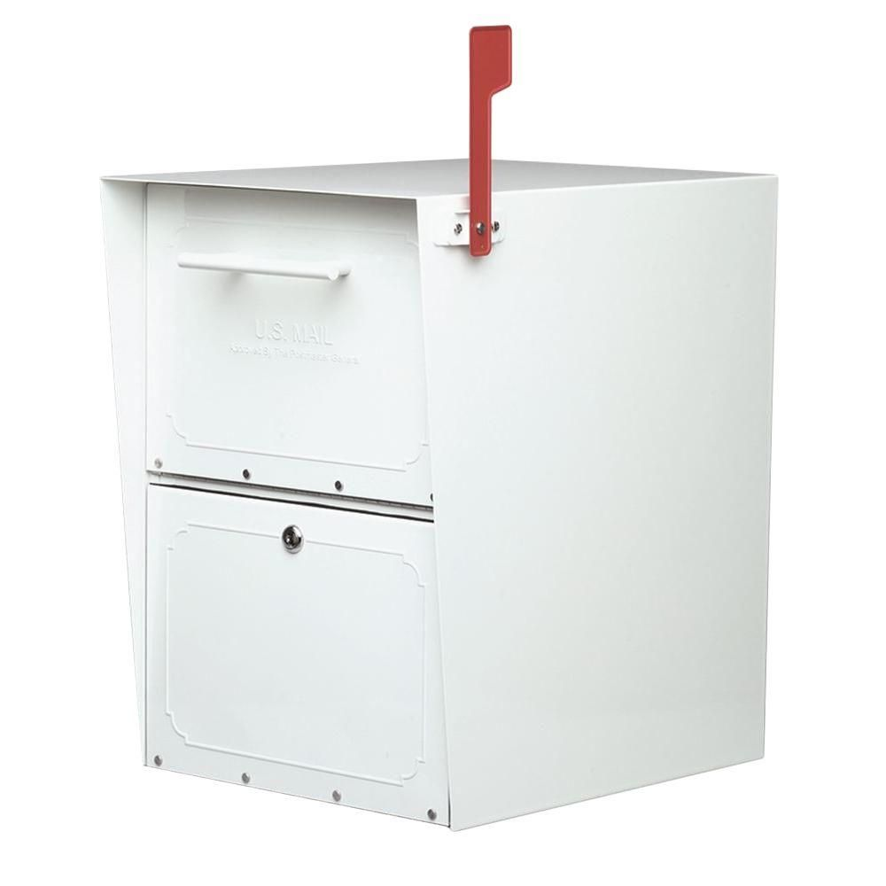 Architectural Mailboxes Oasis Post Mount Or Column Mount Locking Mailbox In White With Outgoing Mail Indicator 5100w The Home Depot Architectural Mailboxes Post Mount Residential Mailboxes