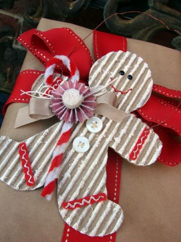 Gingerbread tag - Paper bag wrapping paper and red ribbon - very cute