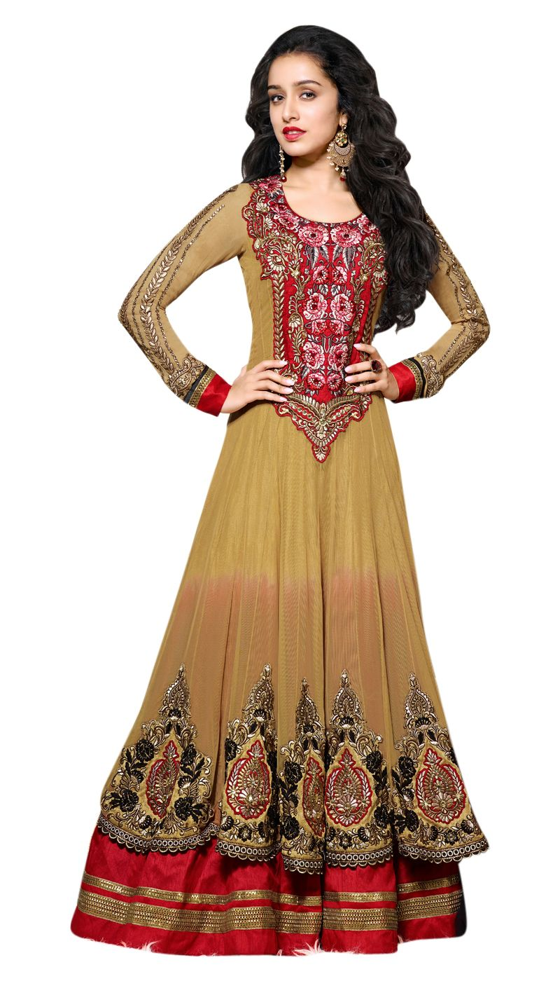 4d0bfe87cf Shraddha Kapoor Net Brown Red Embroidered Floor Length Anarkali Suit With  Chiffon Dupatta