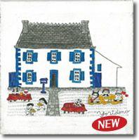 新作 当店限定商品 人気イラストレーターyoridonoによる Houseシリーズ 壁掛けキャンバスアート ふらんすらへん 青 ヨーロッパ 家 フランス 建物 おにぎり ピクニック 青い家 イラスト 絵画 イラストレーター キャンバスアート フランス 建物