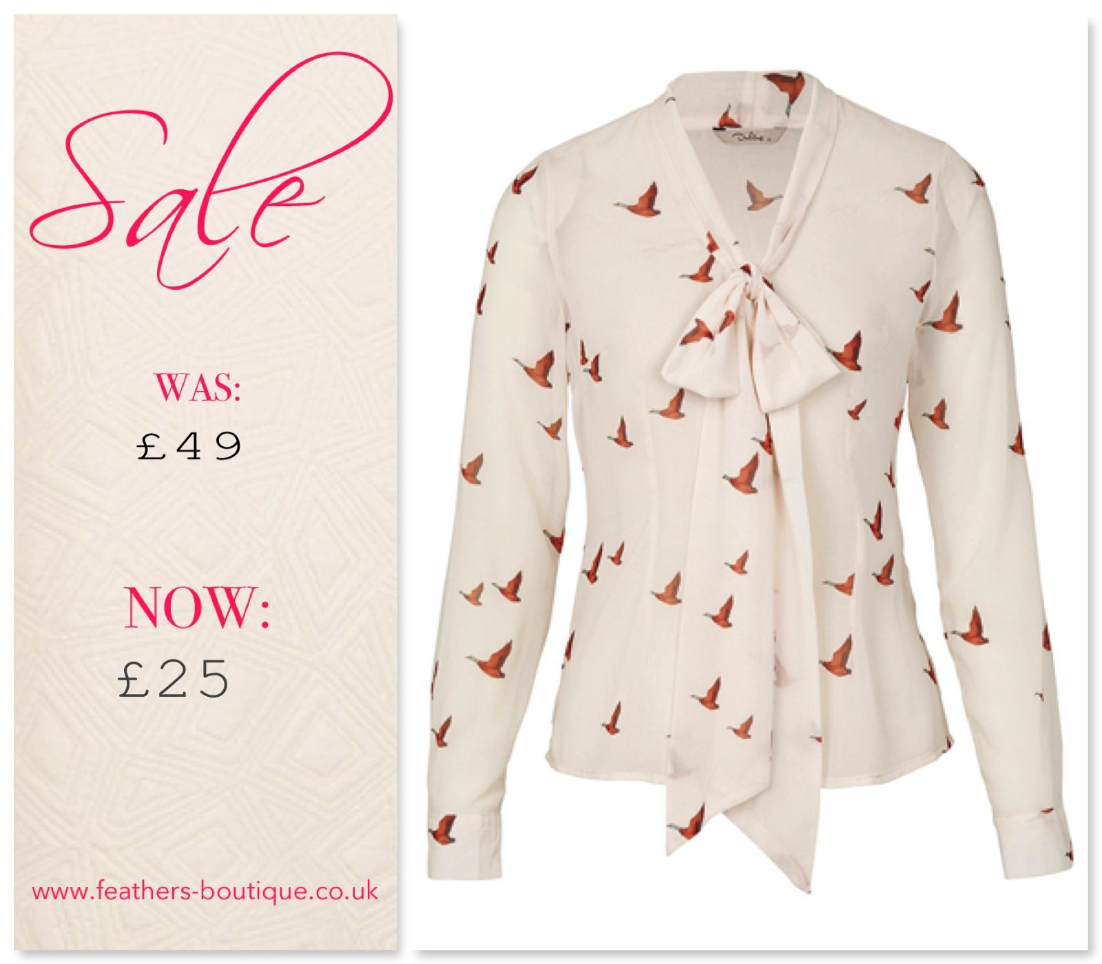 This ladylike Delphine Printed Blouse by Darling features pearl buttons and pussybow collar. The flying bird print adds a tongue in cheek twist  #sale #feathersboutique #liverpool #love #fashion #fashionista #style #stylist #clothes #clothing #ootd #fbloggers #bbloggers #bloggers #blogging #blog #picoftheday #photooftheday #outfit #darling #top #shirt #blouse