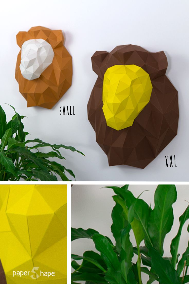 3d l we aus papier lion trophy papershape paper. Black Bedroom Furniture Sets. Home Design Ideas