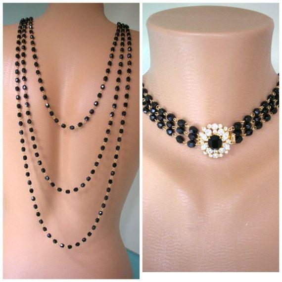 e833f3ba9 Black Backdrop Necklace, Bridal Backdrop SET, by CrystalPearlJewelry on  Etsy, $94 Gatsby Dress