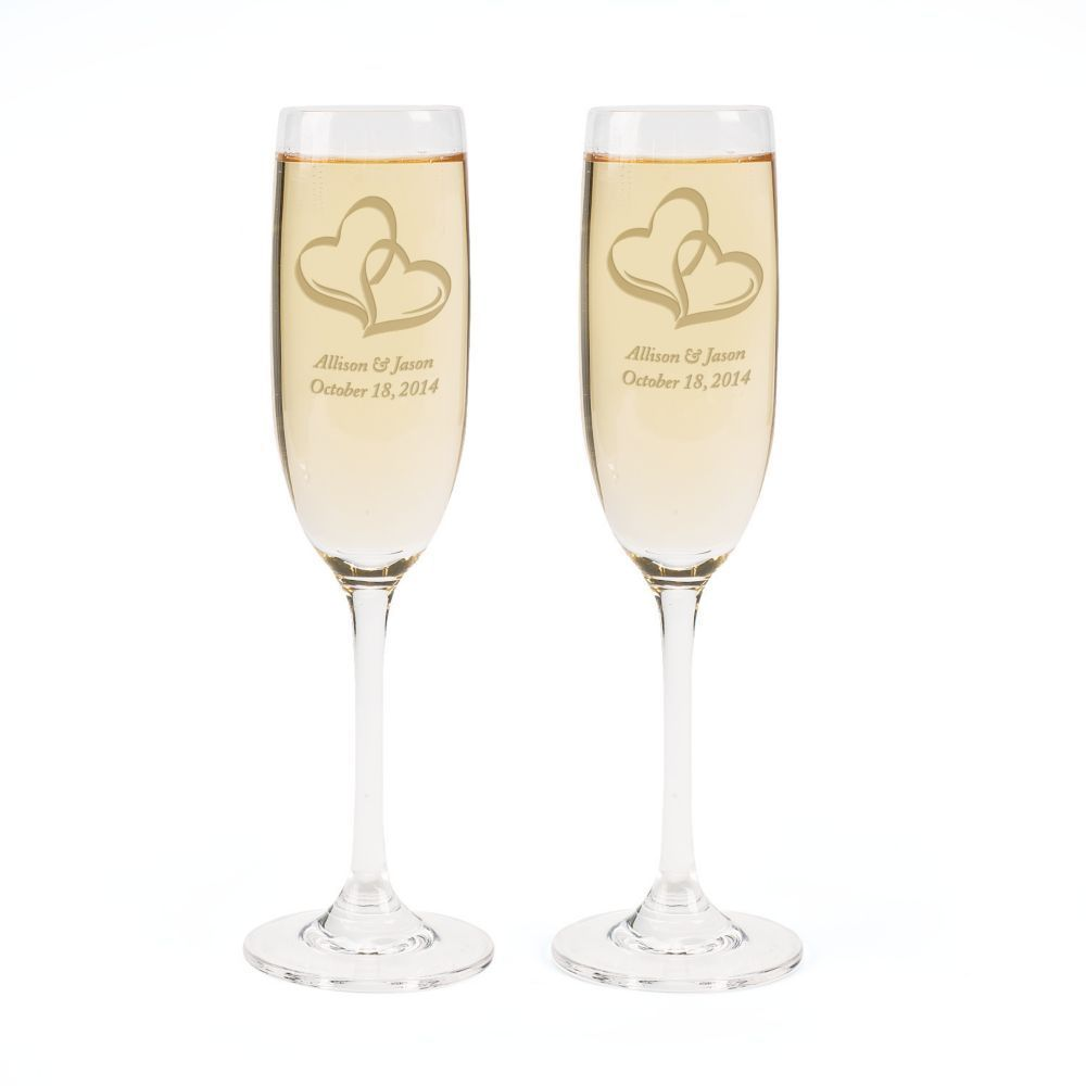 Personalized Wedding Two Hearts Champagne Flute Set | Products