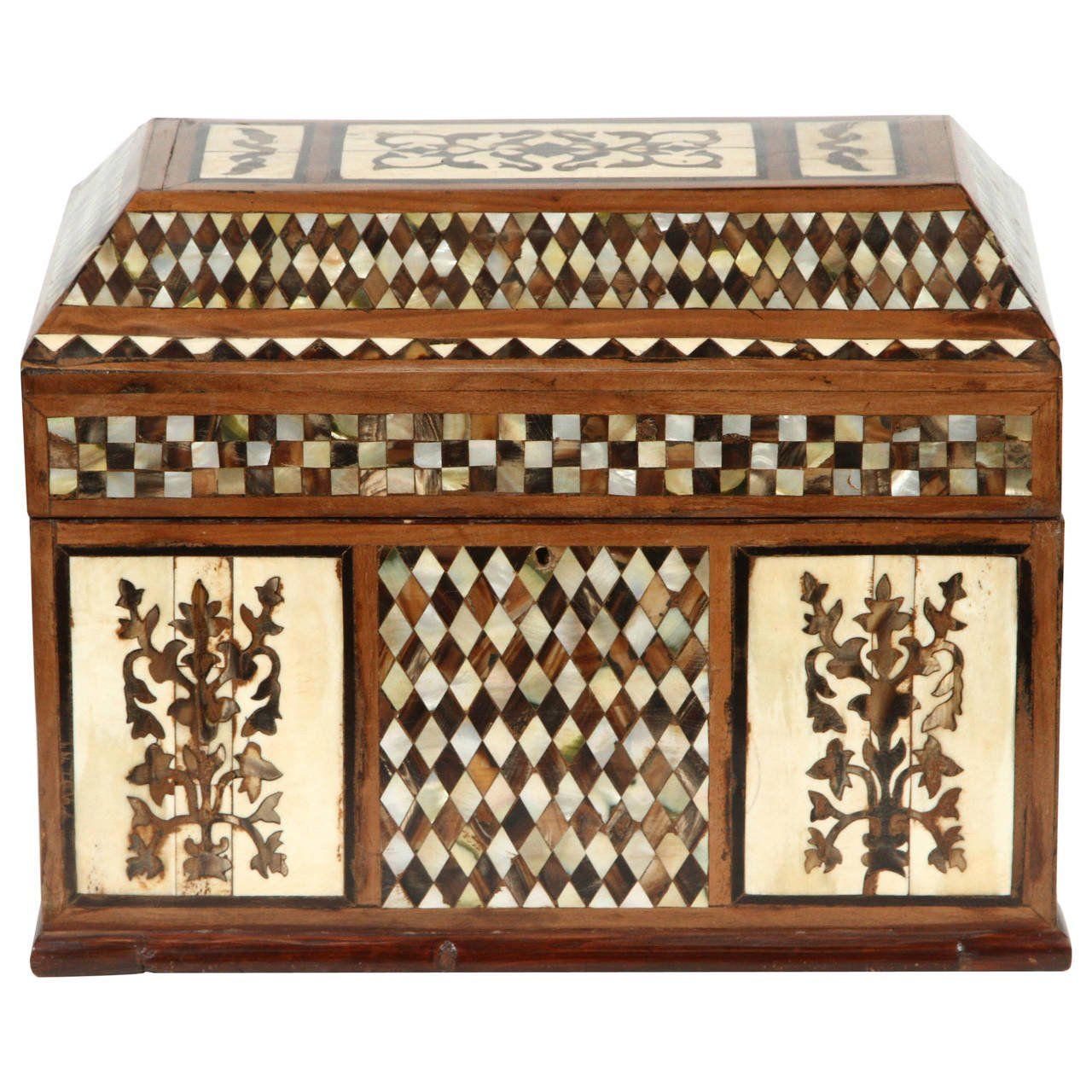 Large Ottoman Mother of Pearl Rosewood Tortoise Inlaid Jewelry Box
