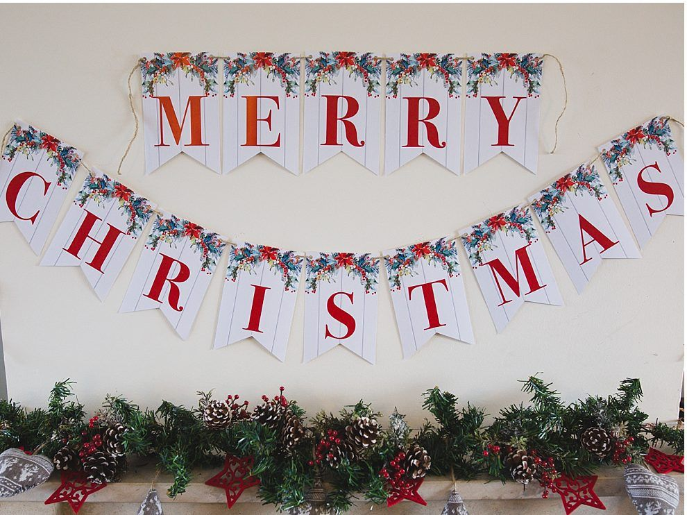 It's just a graphic of Christmas Banner Printable for kawaii