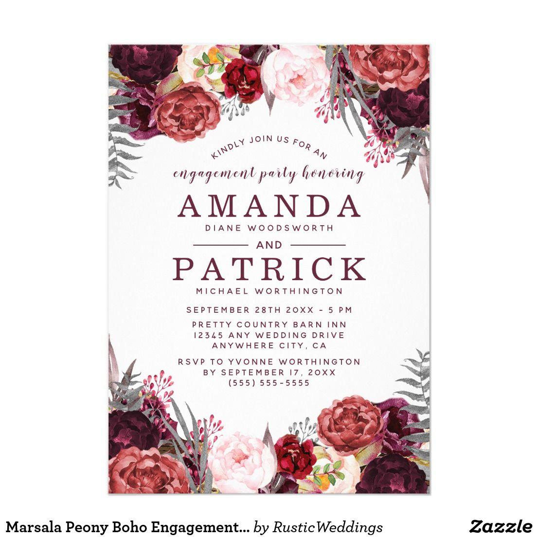 Marsala Peony Boho Engagement Party Invitations | Engagement party ...