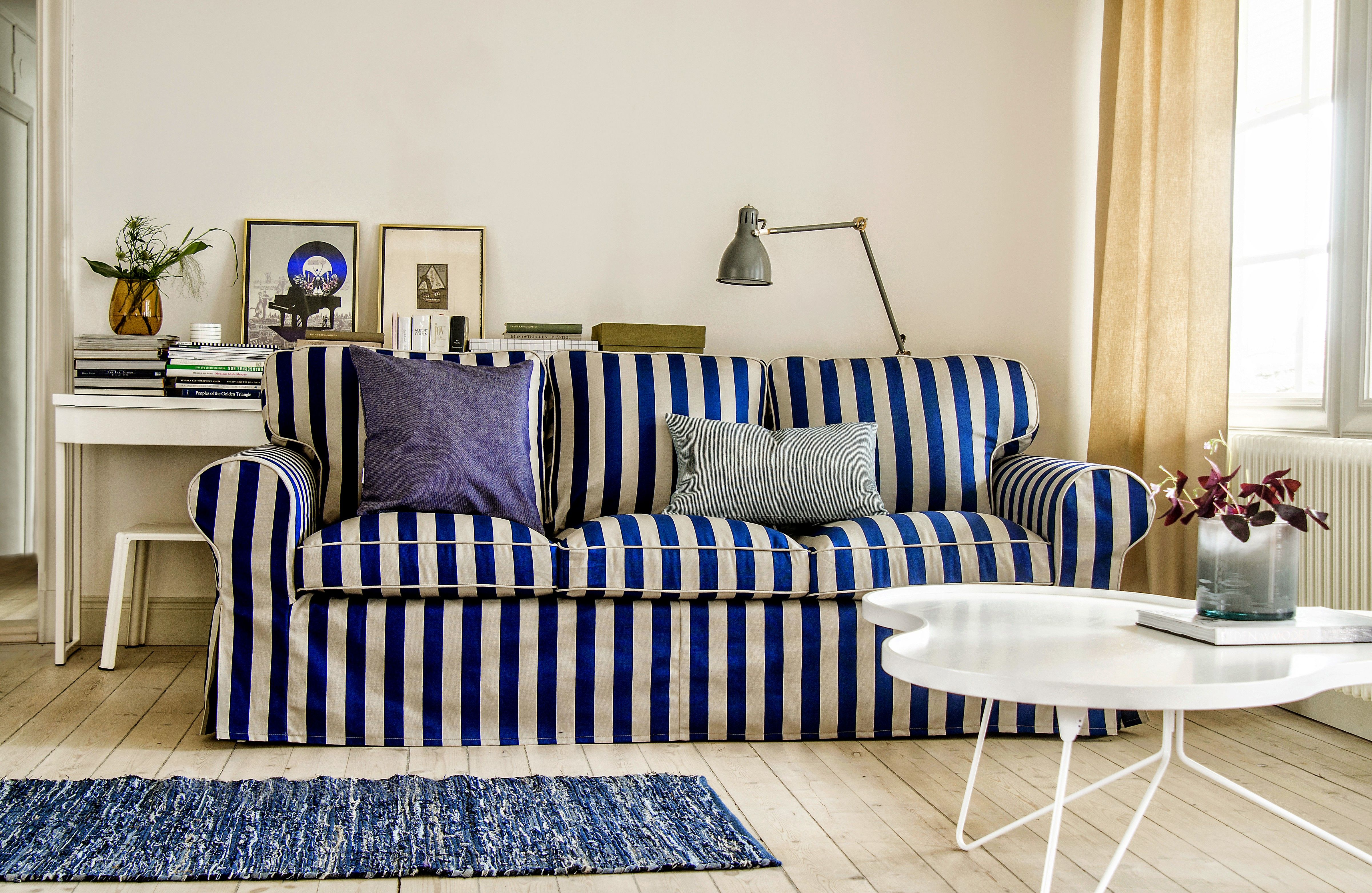 No 6 Ektorp 3 Seater Sofa Bed Cover In Deep Navy Blue Sand Beige Stockholm Stripe Ikea Sofa Home Decor 3 Seater Sofa Bed