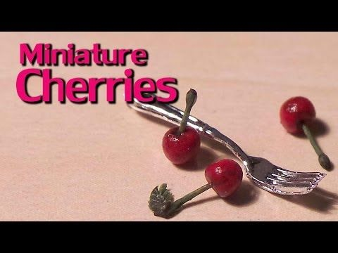 ▶ Easy; Tiny Cherries - Miniature Polymer Clay Cherry Tutorial - YouTube