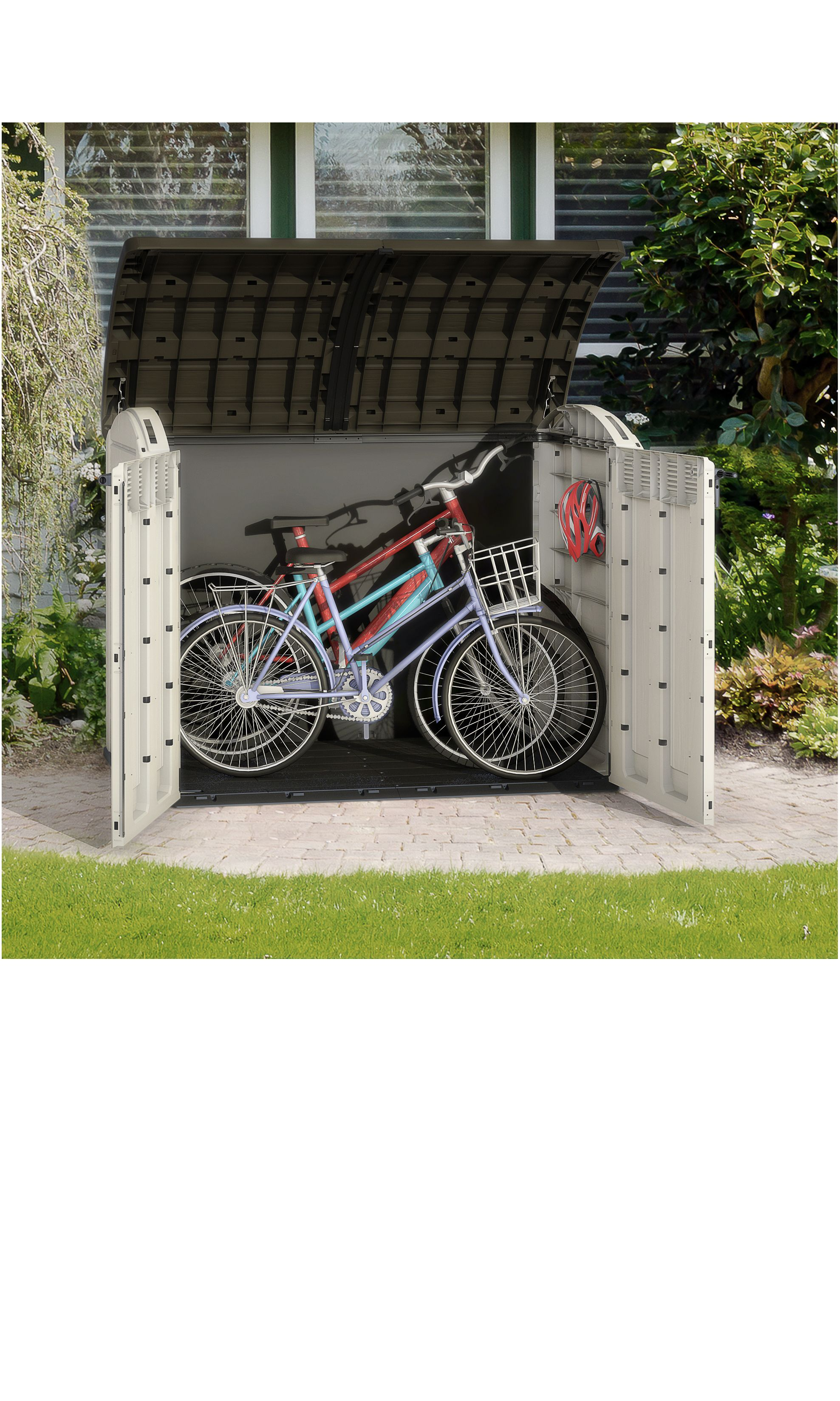 Store It Out Ultra Wood Effect Barrel Plastic Bike Store B Q For All Your Home And Garden Supplies And Adv Outside Bike Storage Garden Storage Shed Bike Shed