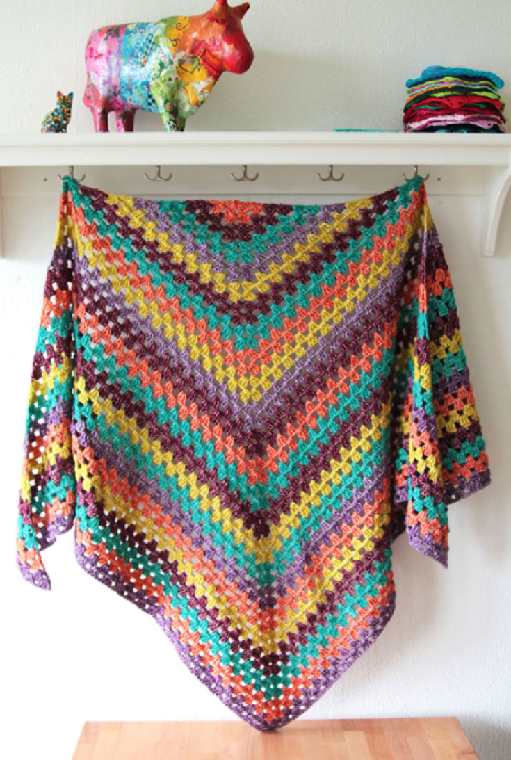 Quick and easy pattern: the stonewashed XL Granny winter shawl ...