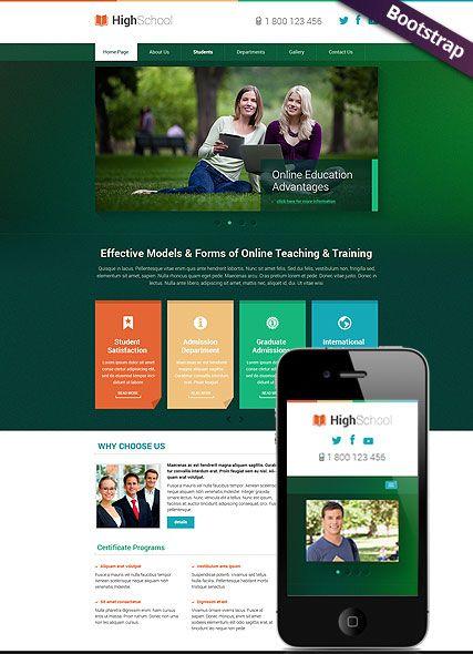 Hight School Website Template Bootstrap Mobile Responsive