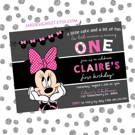 Kids Birthday Party invitations  Minnie Mouse  by JaxDesigns27
