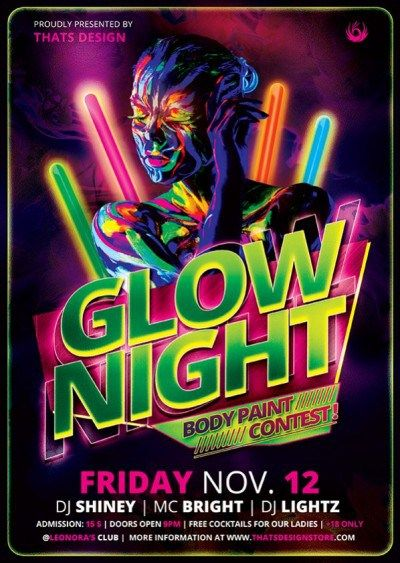 Glow Party Flyer Template Fluo Night Psd To Customize Flyer