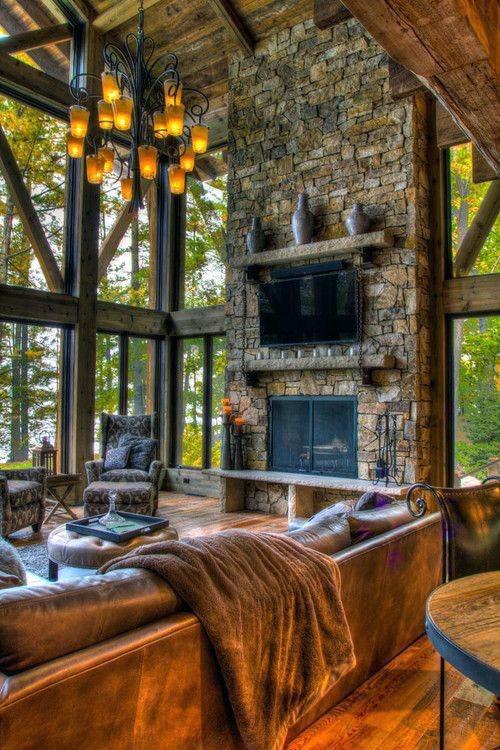 Top 70 Best Stone Fireplace Design Ideas - Rustic
