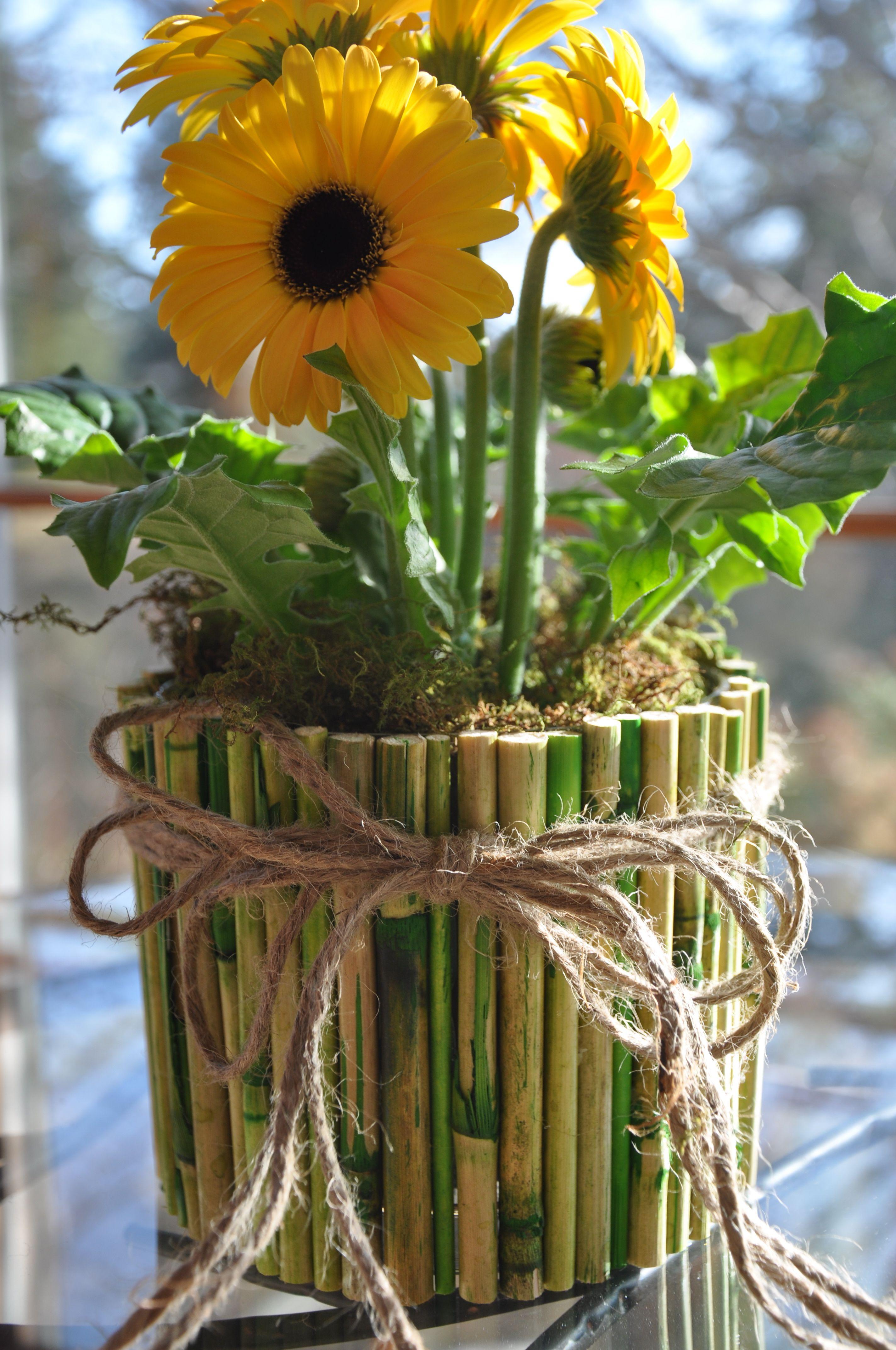 DIY Green Bamboo Centerpiece Vase Bamboo centerpieces