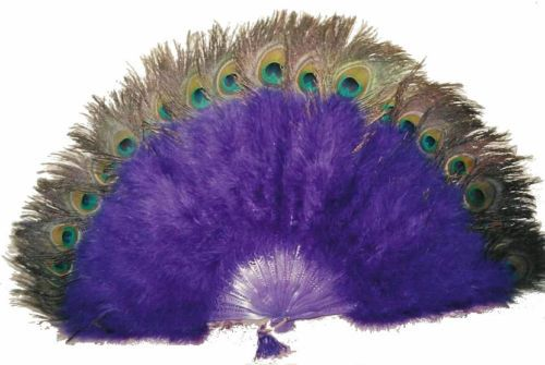 "Marabou Feather Fan Royal Blue w Peaock 24"" x 14"" Sexy Burlesque Costume 
