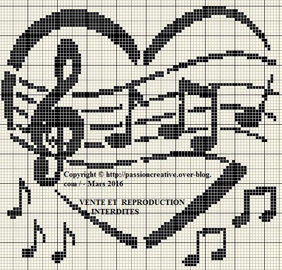 Grille gratuite point de croix la musique en coeur 2 point de croix 1 vrac pinterest - Grille point de croix gratuite coeur ...