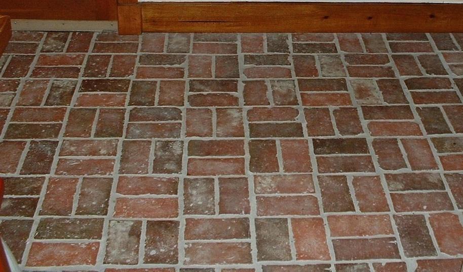 Brick Tile Antique Look Floor Vinyl
