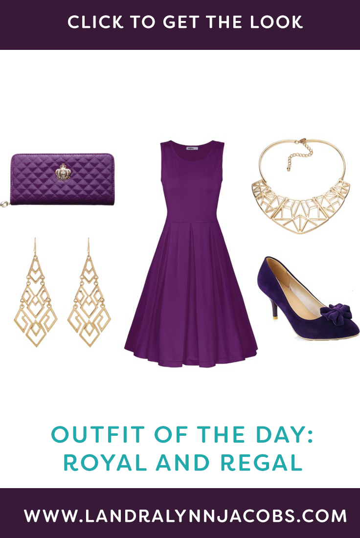 A comfortable cotton dress in a bold royal purple is simple enough ...