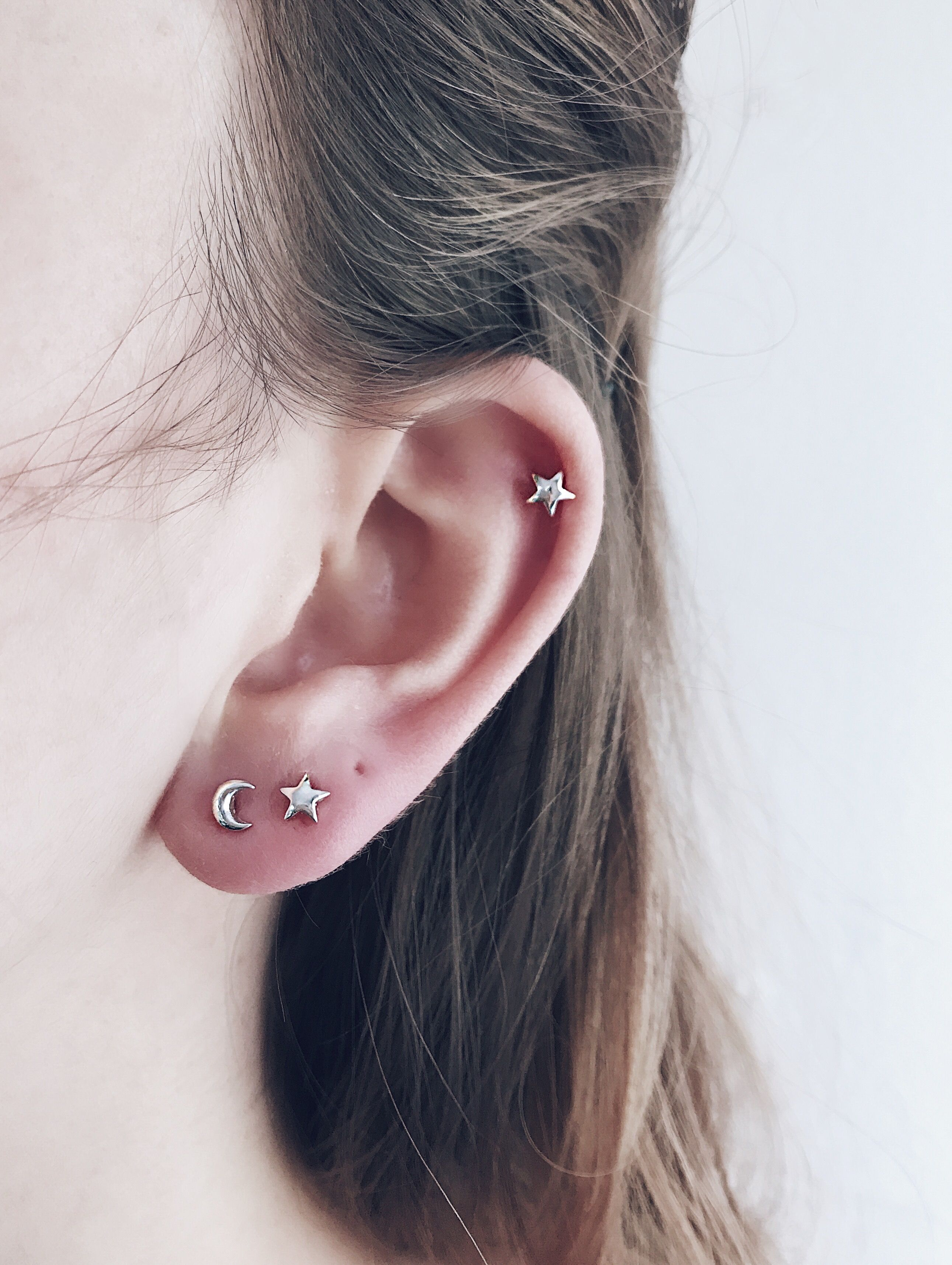 b618c73ff Modern And Minimal Way To Wear Star Moon Silver Ear Studs Perfect For  Stacking