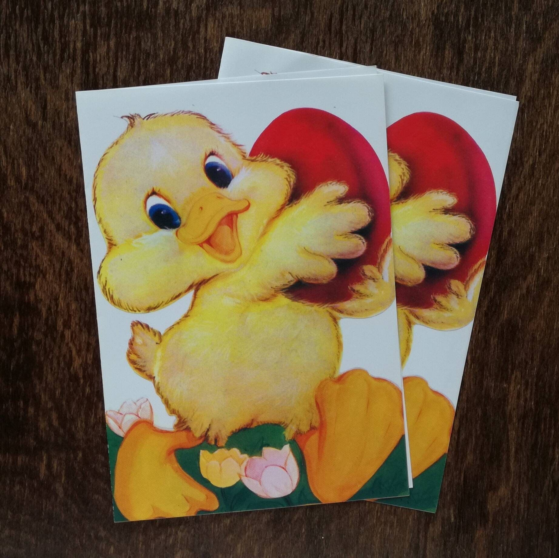 Vintage Easter Card Blank Retro Color Print Old Design Paper Greeting Chick And Egg Smiling Chicken Red Spring Papergoods