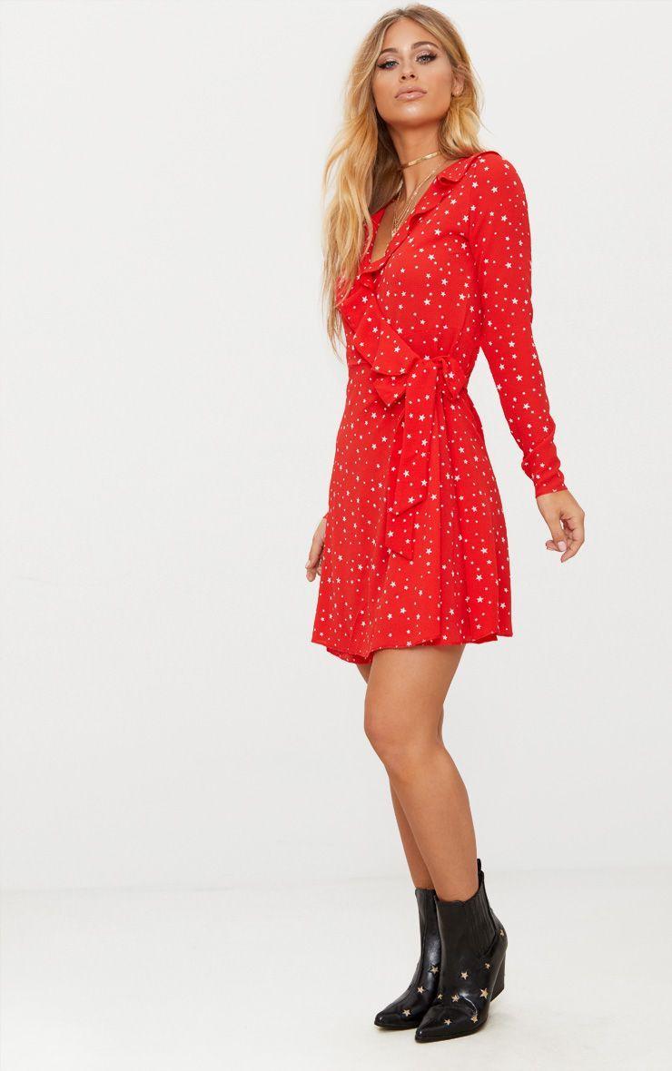 2e229dc9a68 Red Star Print Frill Wrap Tea Dress