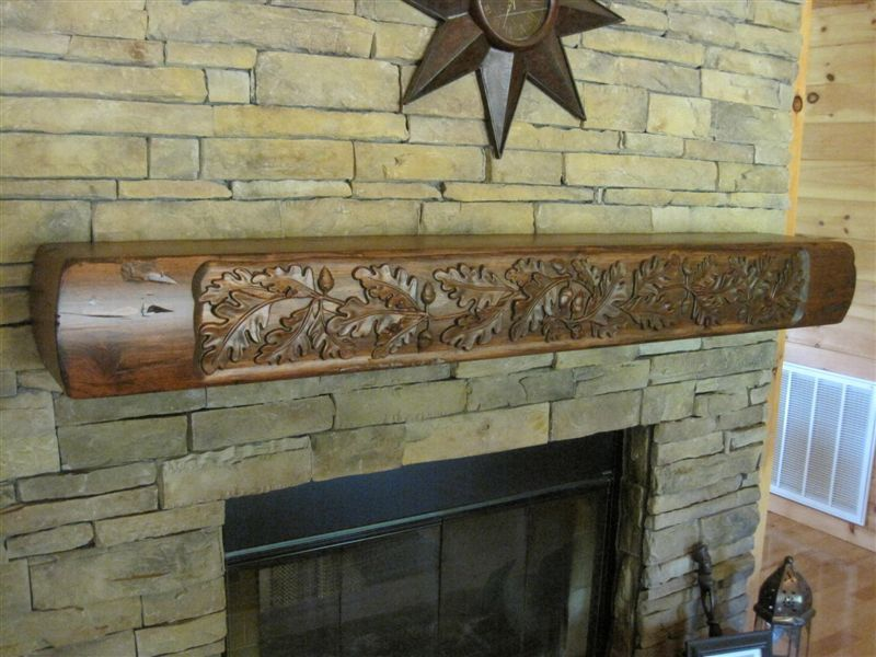 beautiful rustic fireplace mantel with carved oak leaves 445 00 rh pinterest com Fireplace Mantel Plans and Blueprints Wood Beam Fireplace Mantels