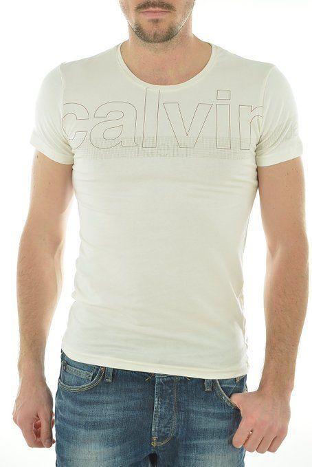 T Shirt Calvin Klein Blanc Homme Col Rond Cmp84t Ck Ckj Ckjeans