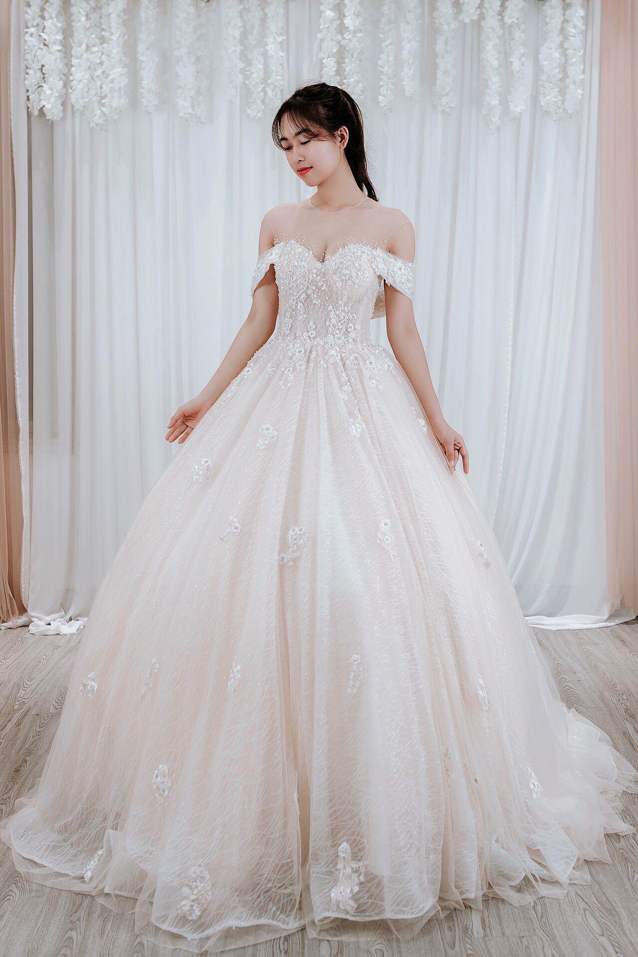 Blush Wedding Dress/ Aline Bridal Gown/ Sparkly Glitter
