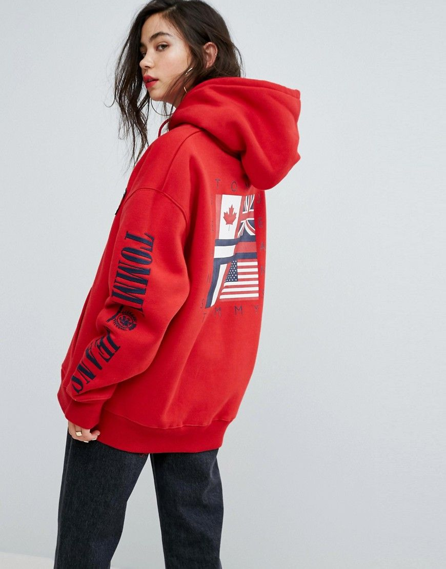 9dc4fc53d79c87 Tommy Jeans 90s Capsule Logo Hoodie - Red