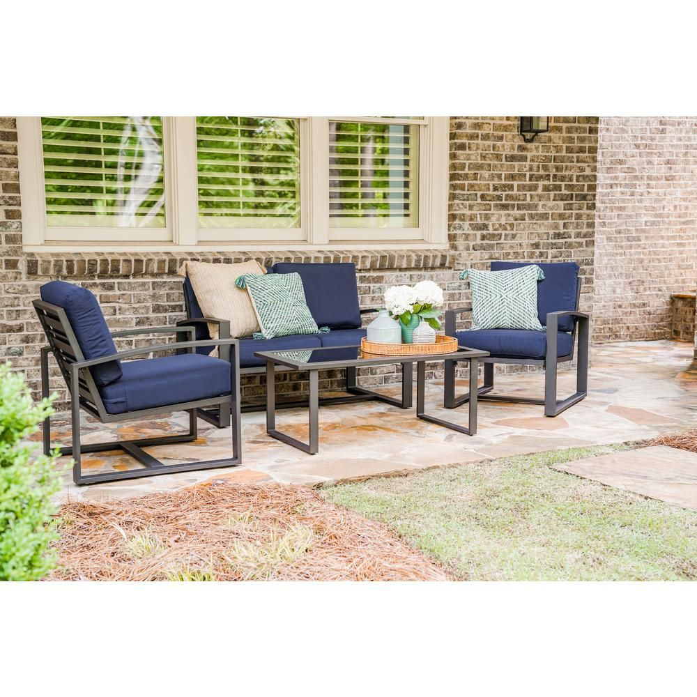 Leisure Made Jasper 4 Piece Aluminum Patio Conversation Set With Navy Cushions 967003 Nvy The Home Depot Conversation Set Patio Patio Furniture Sets Aluminum Patio