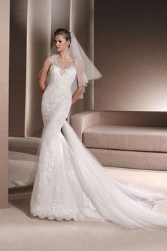 2016 V Neck Wedding Dresses Mermaid/Trumpet Tulle With Applique And Beads US$ 279.99 TPPHZ7RJG2 - TonyPromDresses.com for mobile